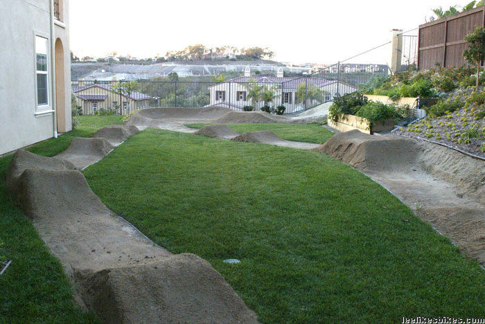 Backyard Bmx Pump Track : we have photos of AA BMX Pro Jason Richardson?s completed pump track